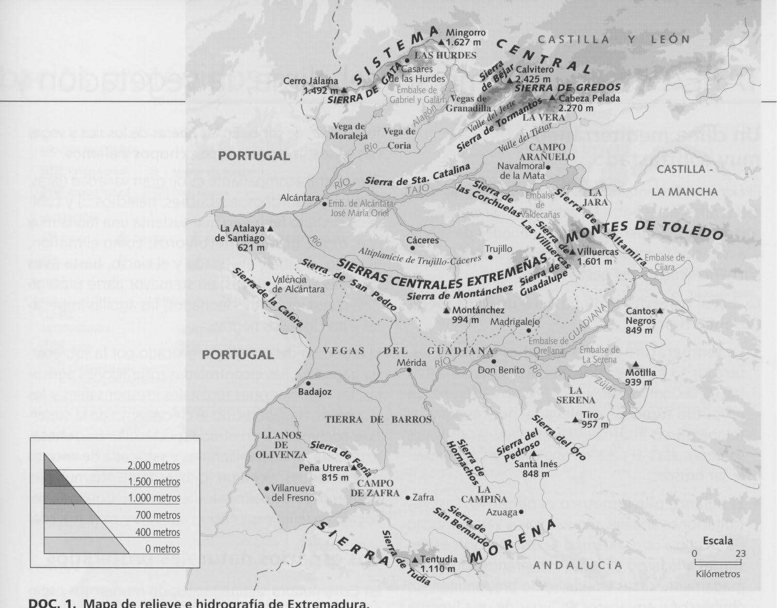Mapa de Relieve y hidrografía de Extremadura