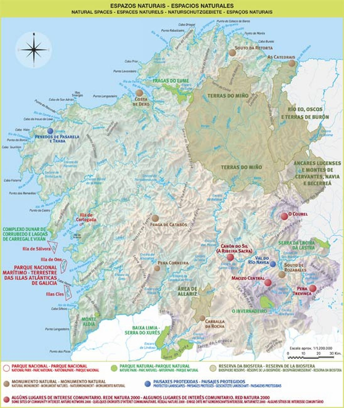 Mapa de Espacios Naturales de Galicia
