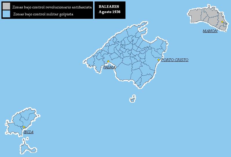 Mapa de Islas Baleares agosto 1936