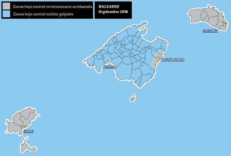 Mapa de Islas Baleares septiembre 1936