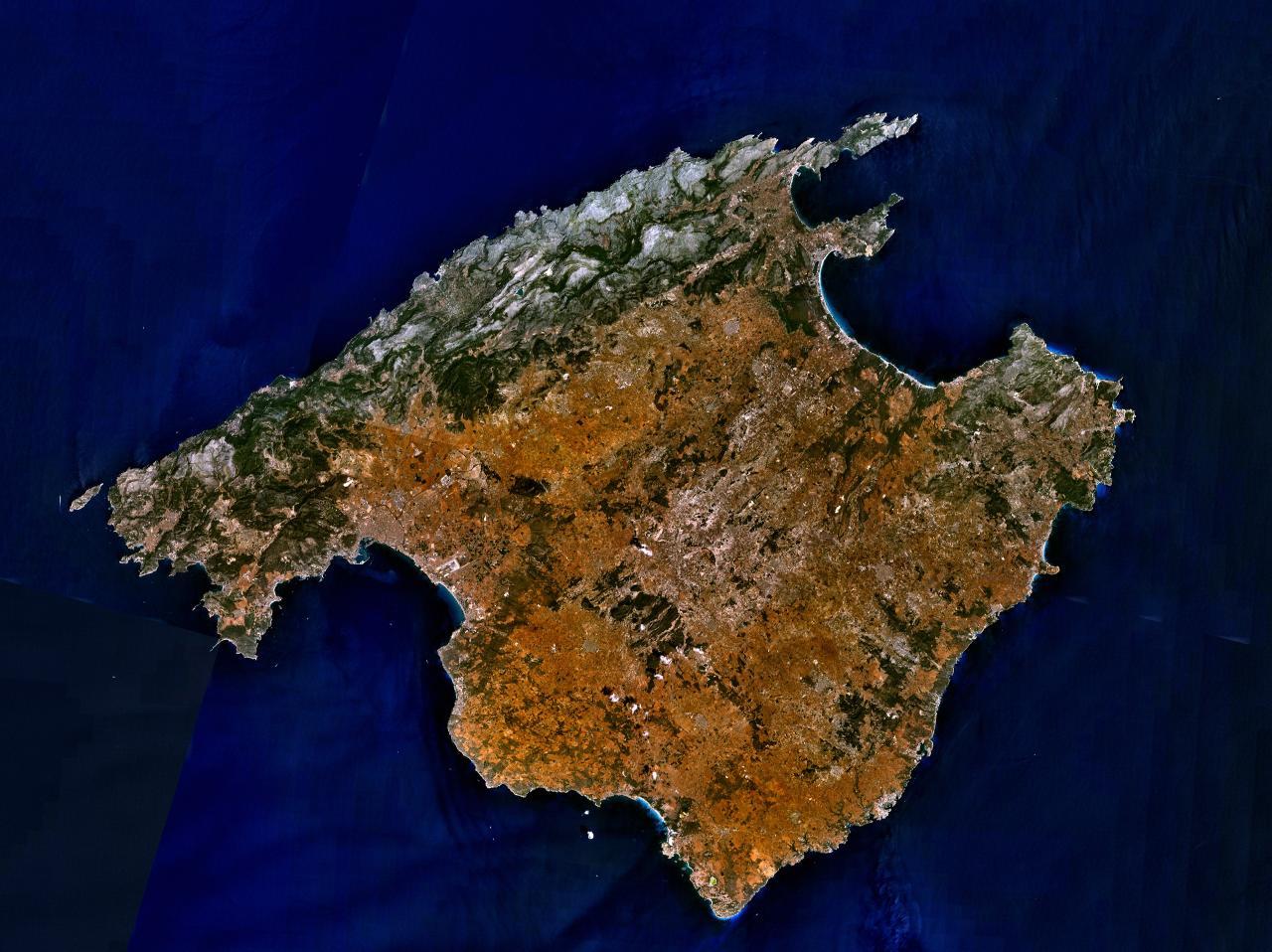 Satellite map of Majorca Island