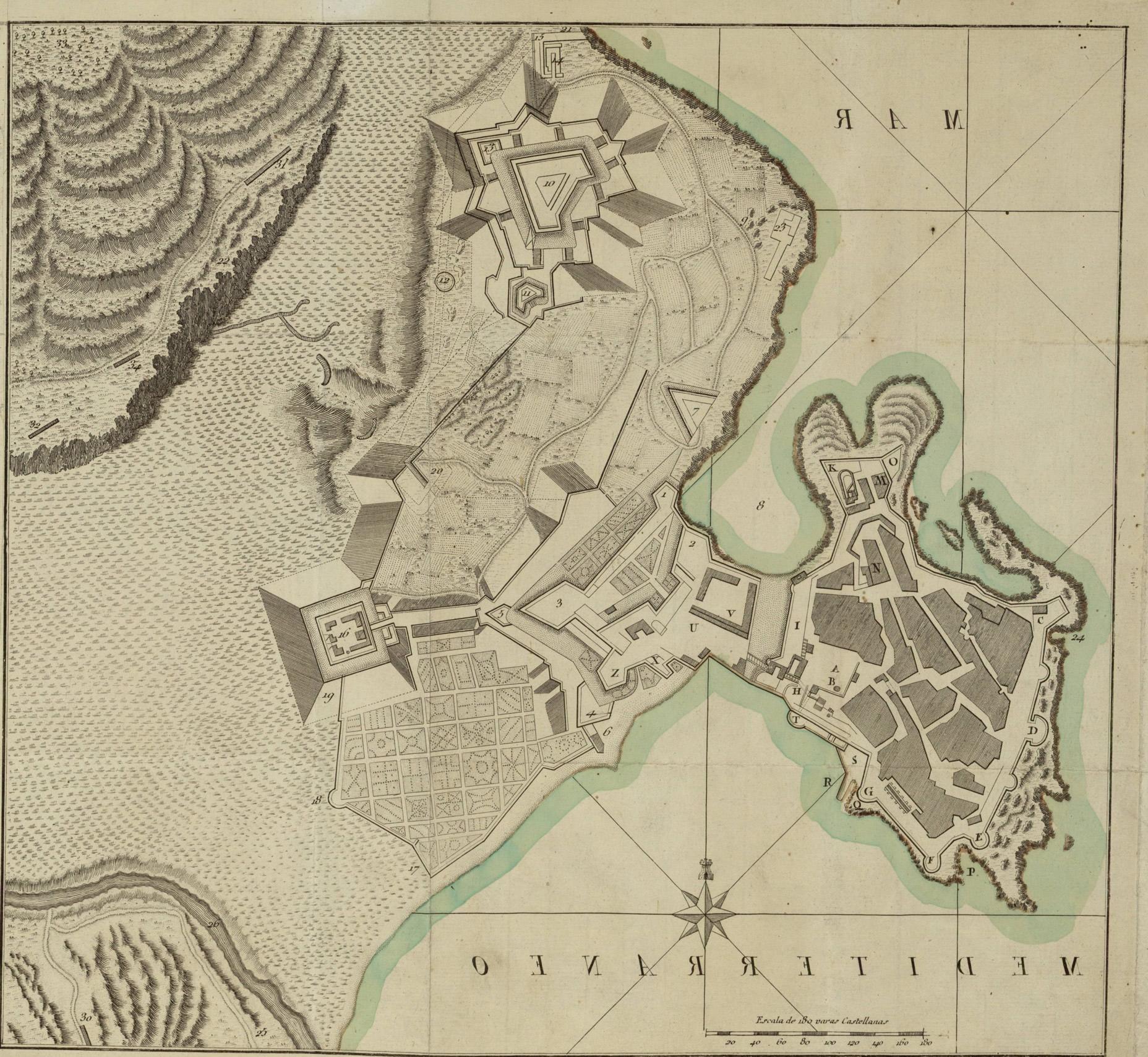 Mapa de Ciudad, Plaza Y Fuerzas de Melilla 1793