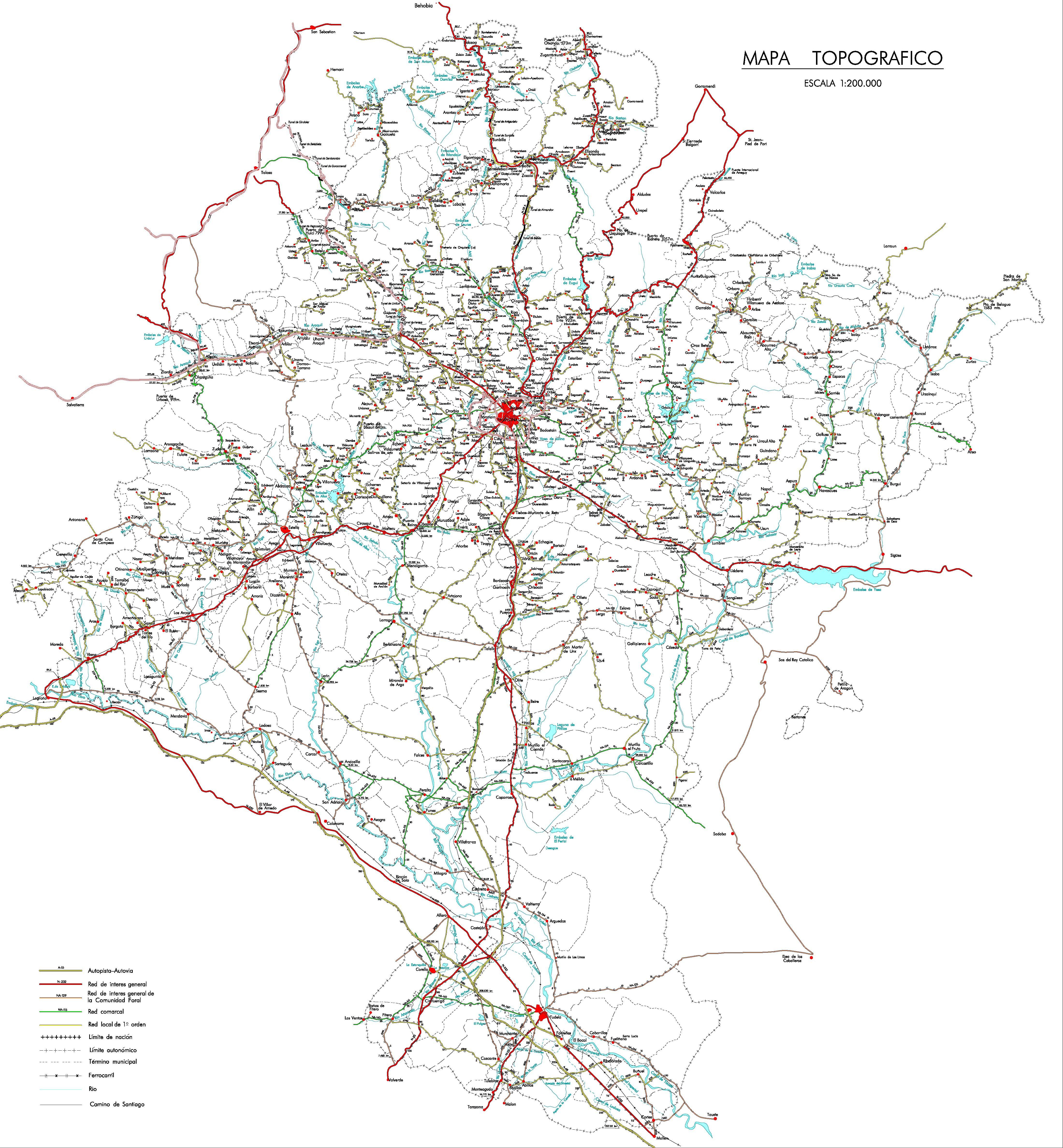 Mapa de carreteras de Navarra