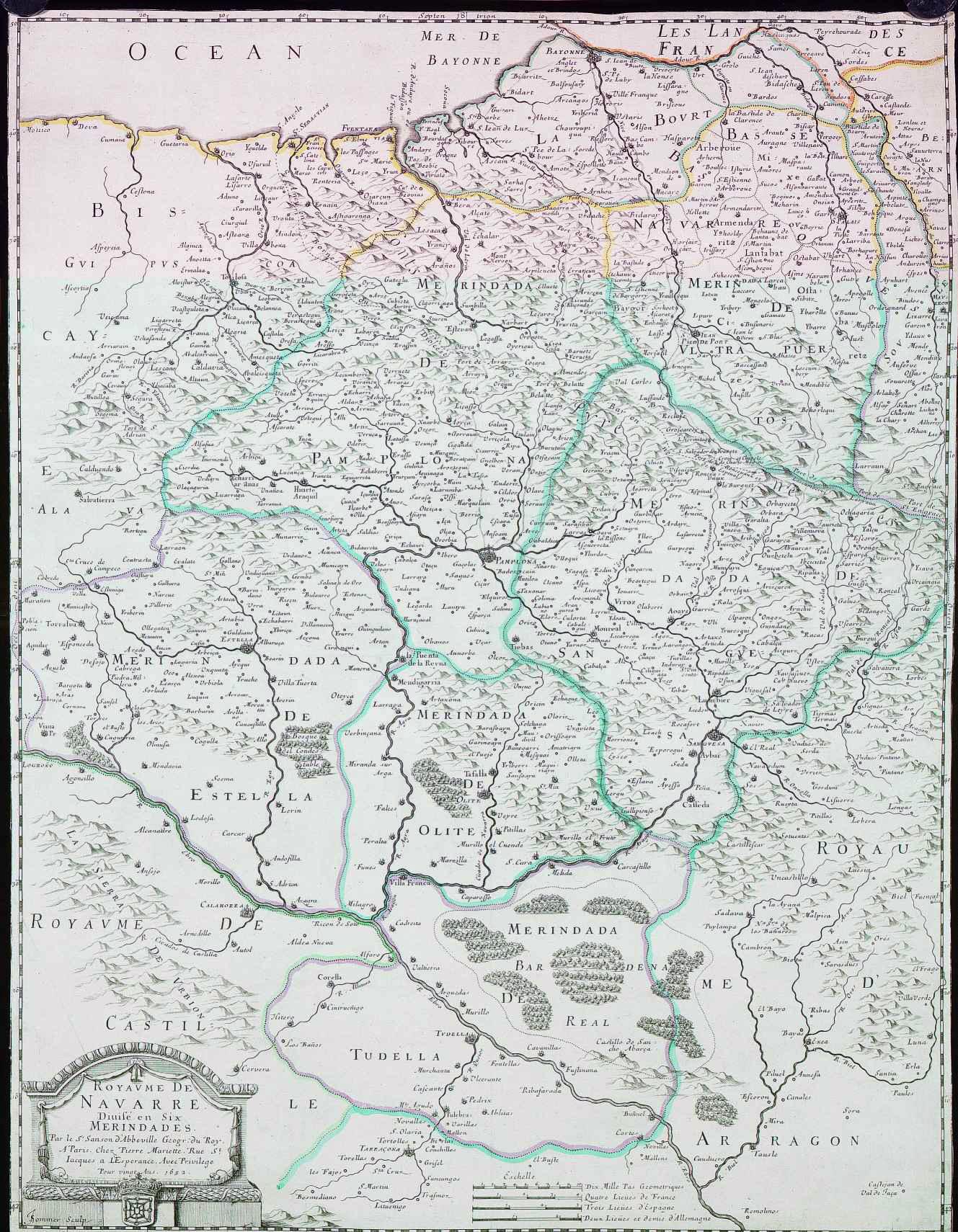 Mapa de Reino de Navarra en seis Merindades