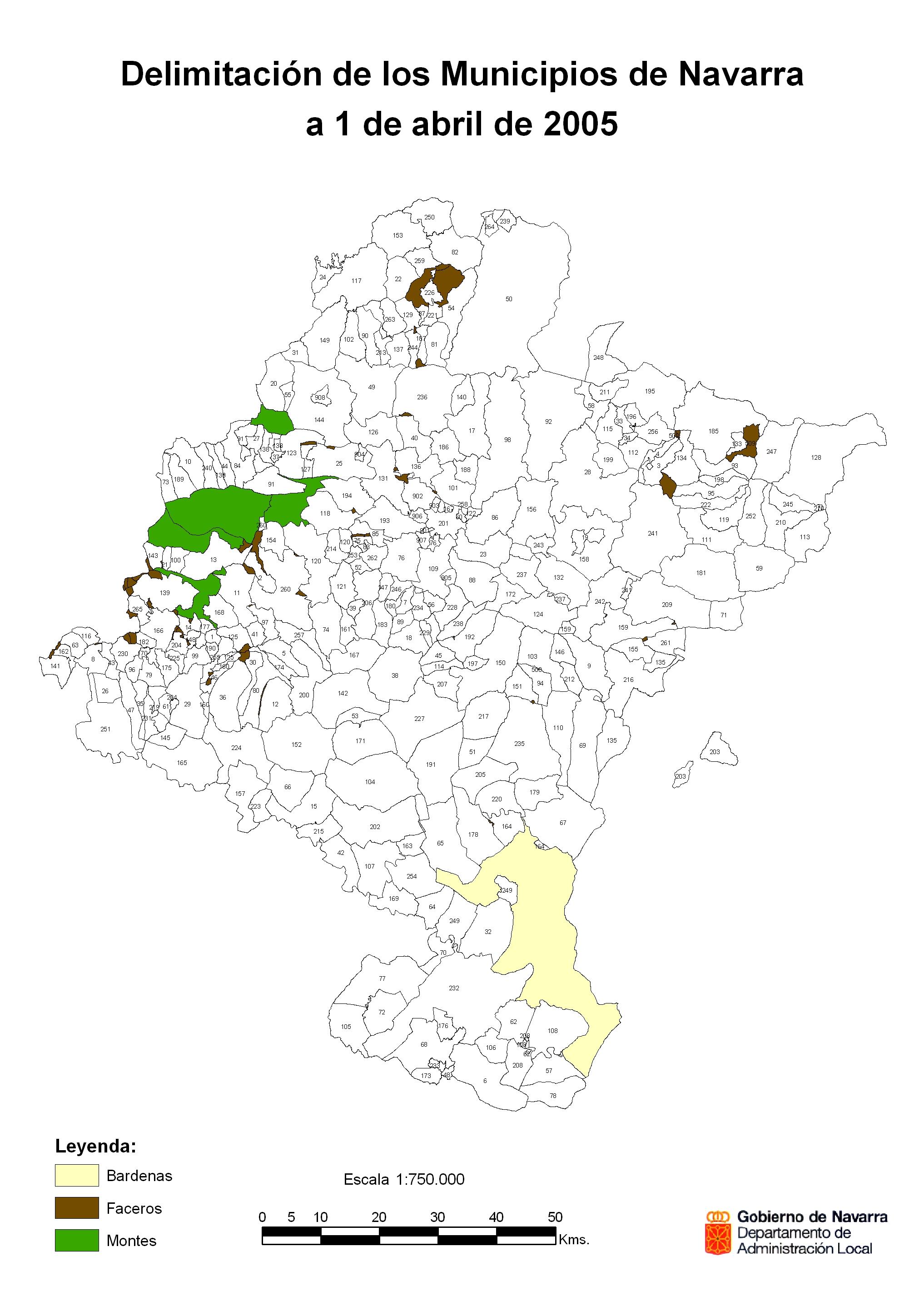 Mapa de Códigos de los Municipios de Navarra 2005
