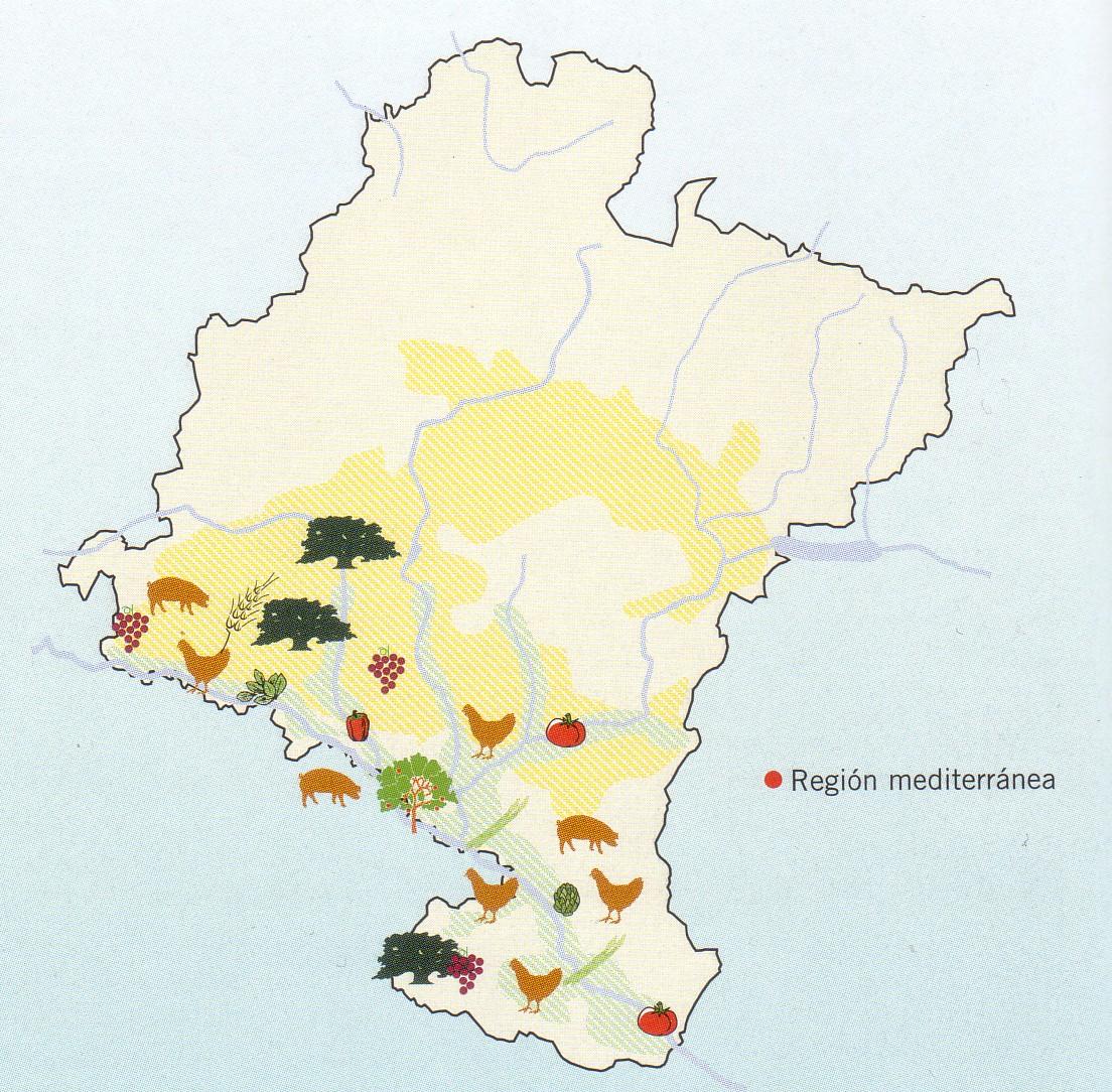 Mapa de Regiones agrarias de Navarra