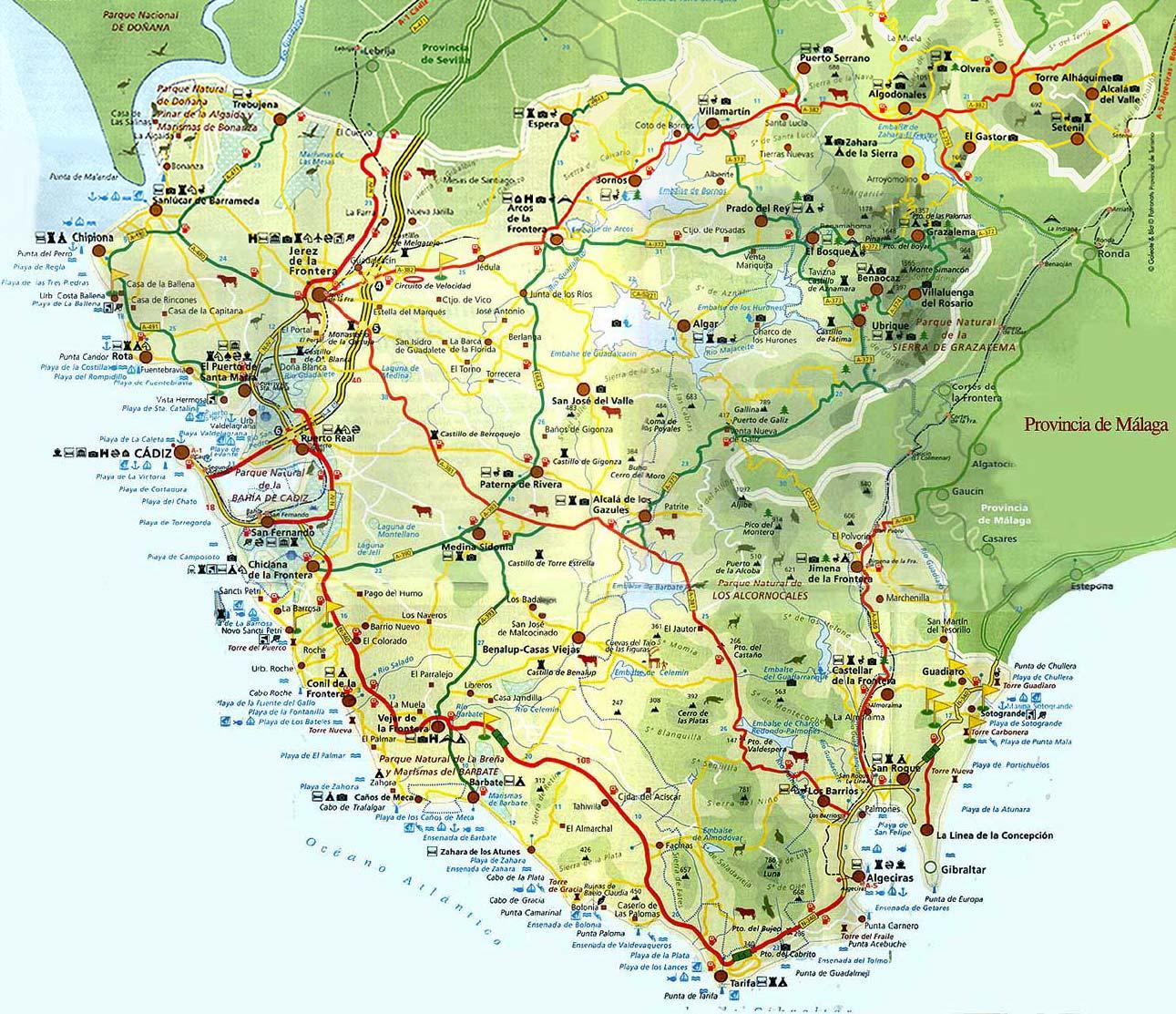 Mapa de carreteras de la Provincia de Cádiz
