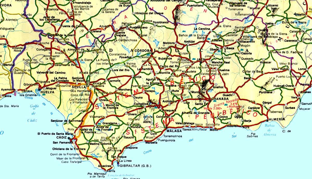 Mapa de carreteras de Andalucía