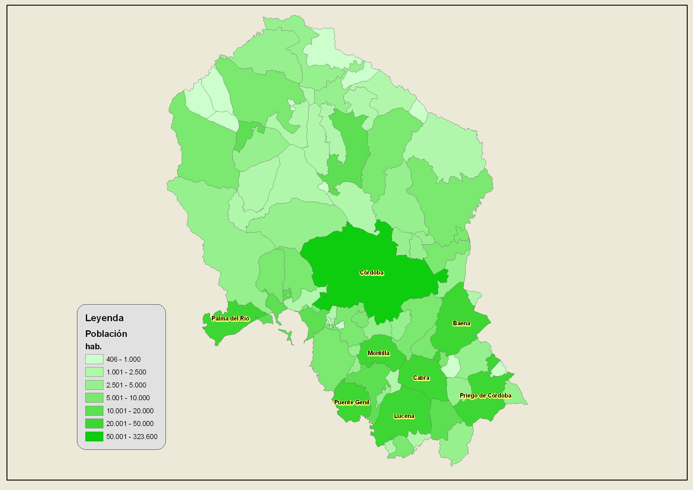 Population of the province of Córdoba 2007