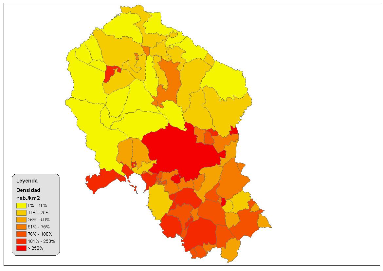 Densidad de población en la provincia de Córdoba 2008