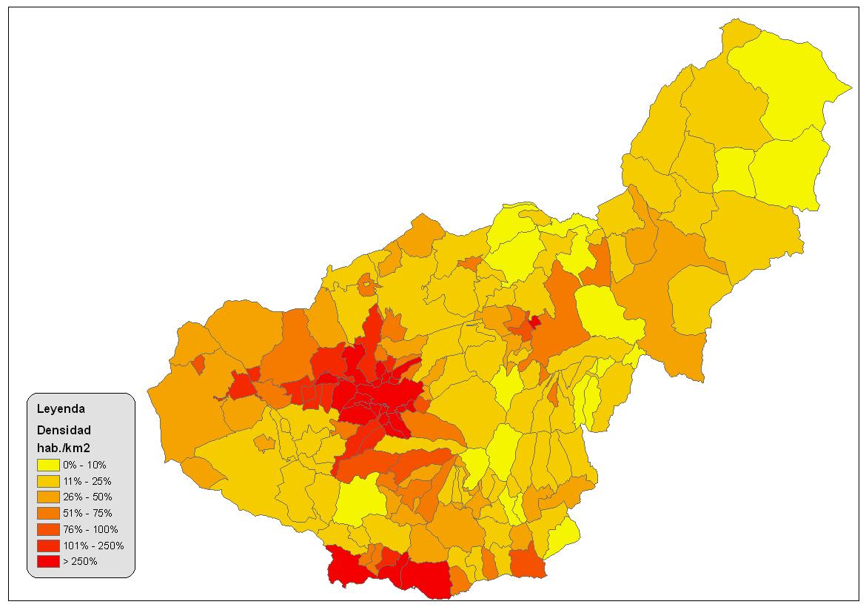 Densidad de población de la provincia de Granada 2008