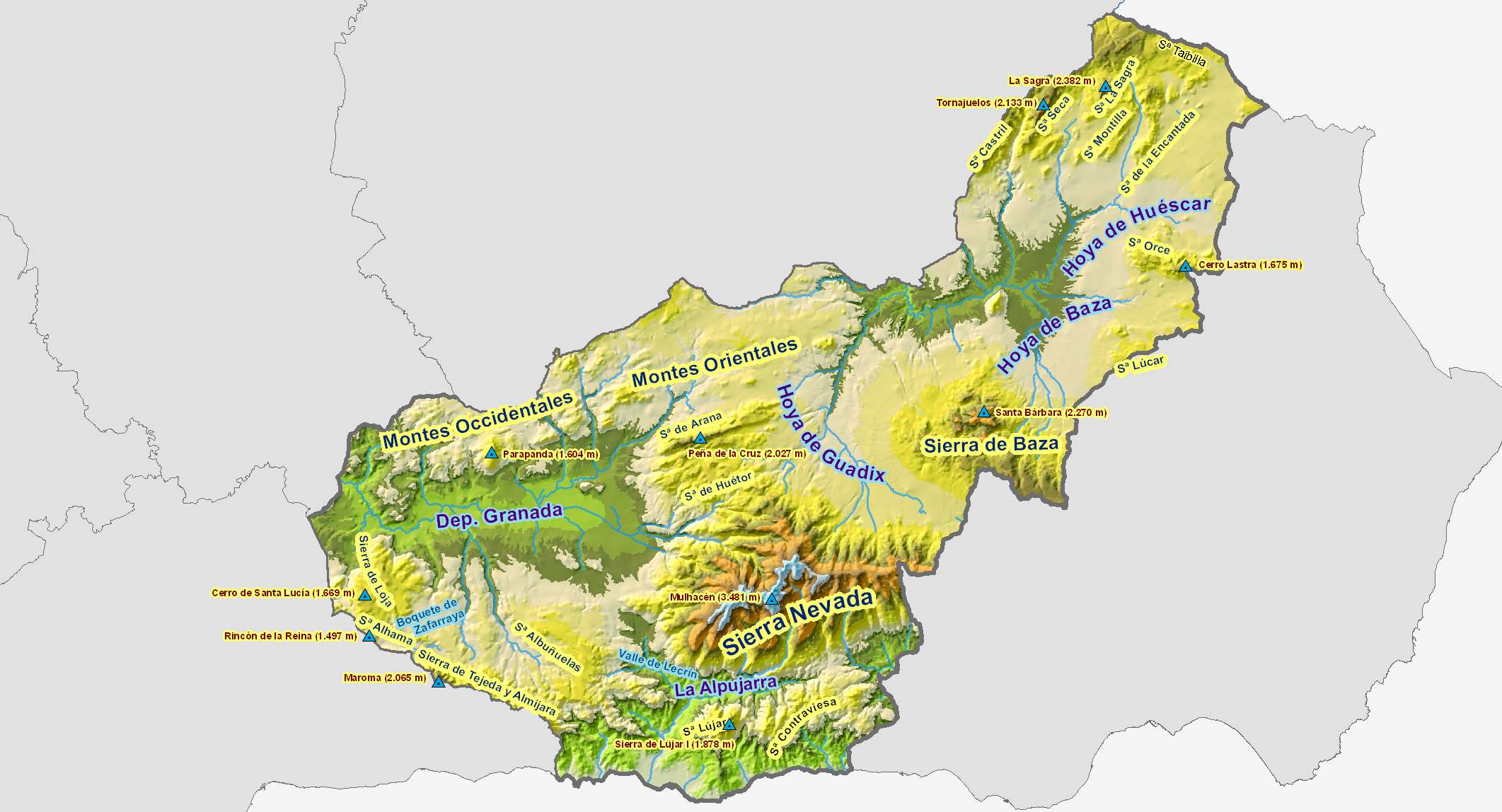 Province of Granada physical map 2008