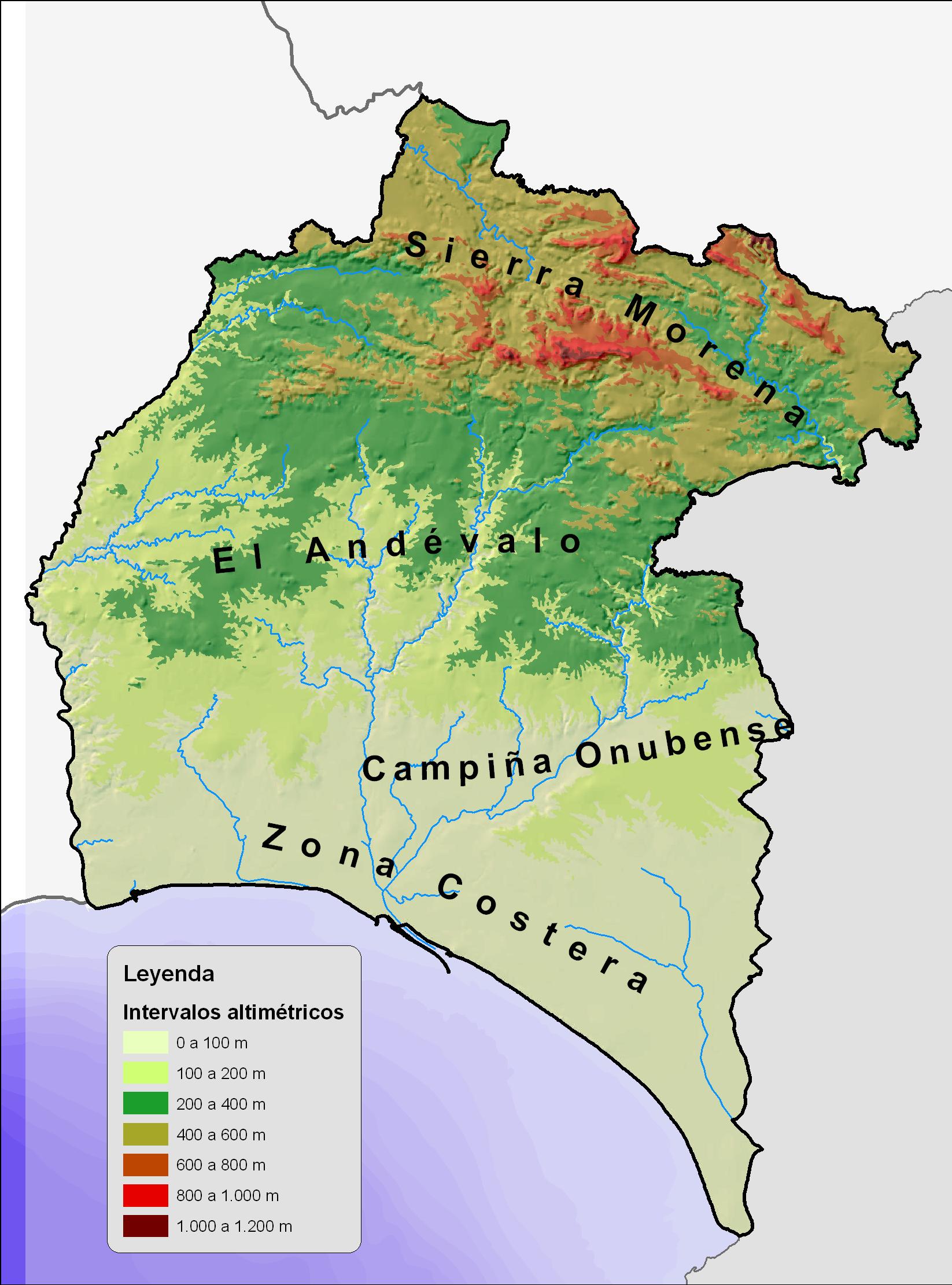 Mapa físico de la provincia de Huelva 2008