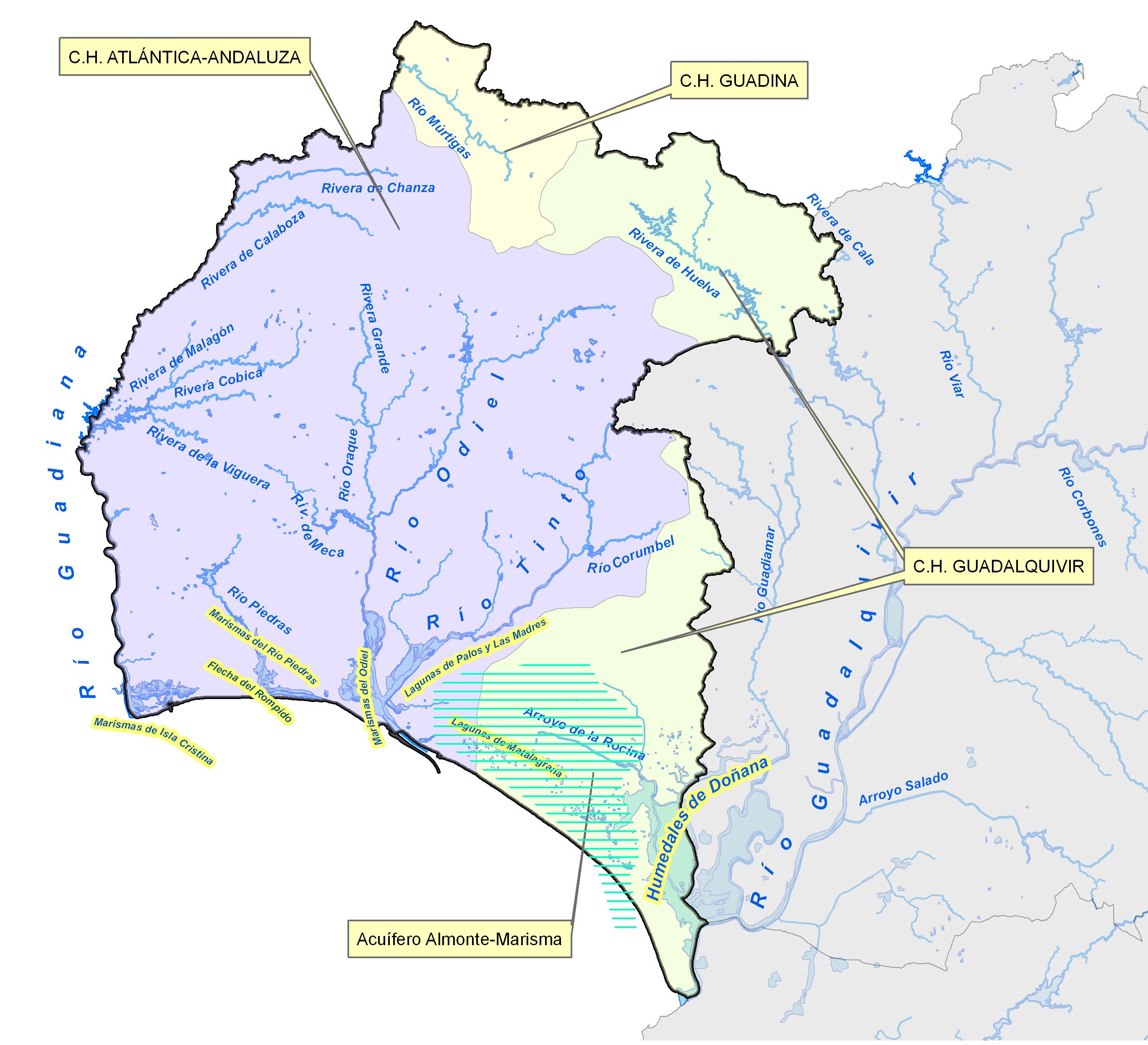 Drainage basins of the Province of Huelva 2008