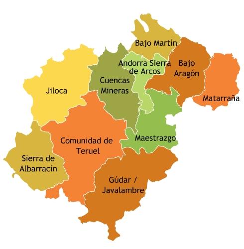 Provincia De Teruel Mapa.Mapa De Comarcas De La Provincia De Teruel Mapa Owje Com