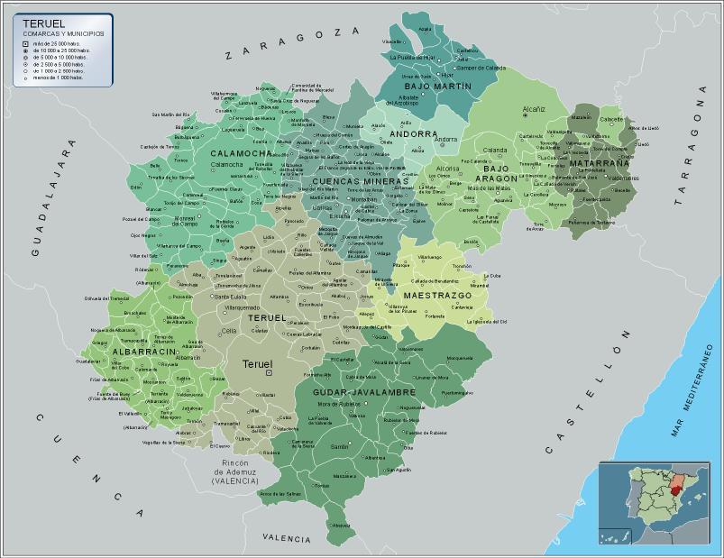Comarcas y municipios de la Provincia de Teruel