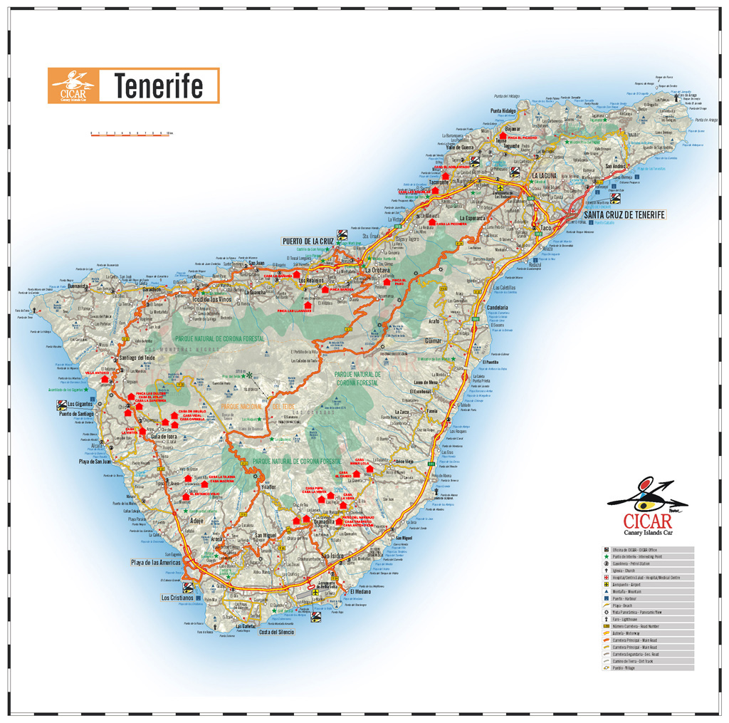 Tenerife Island road map
