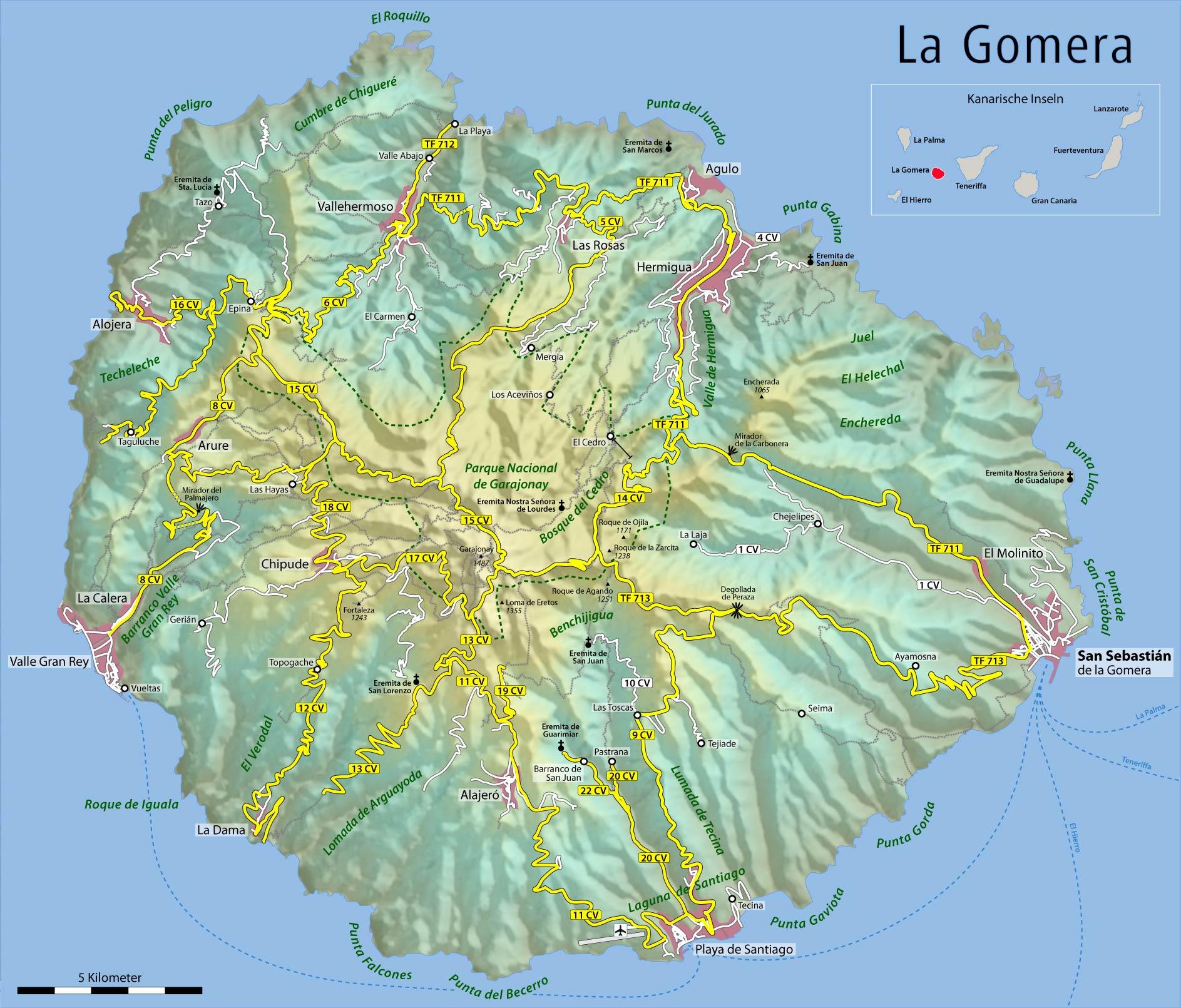 Mapa físico de la Isla La Gomera 2009