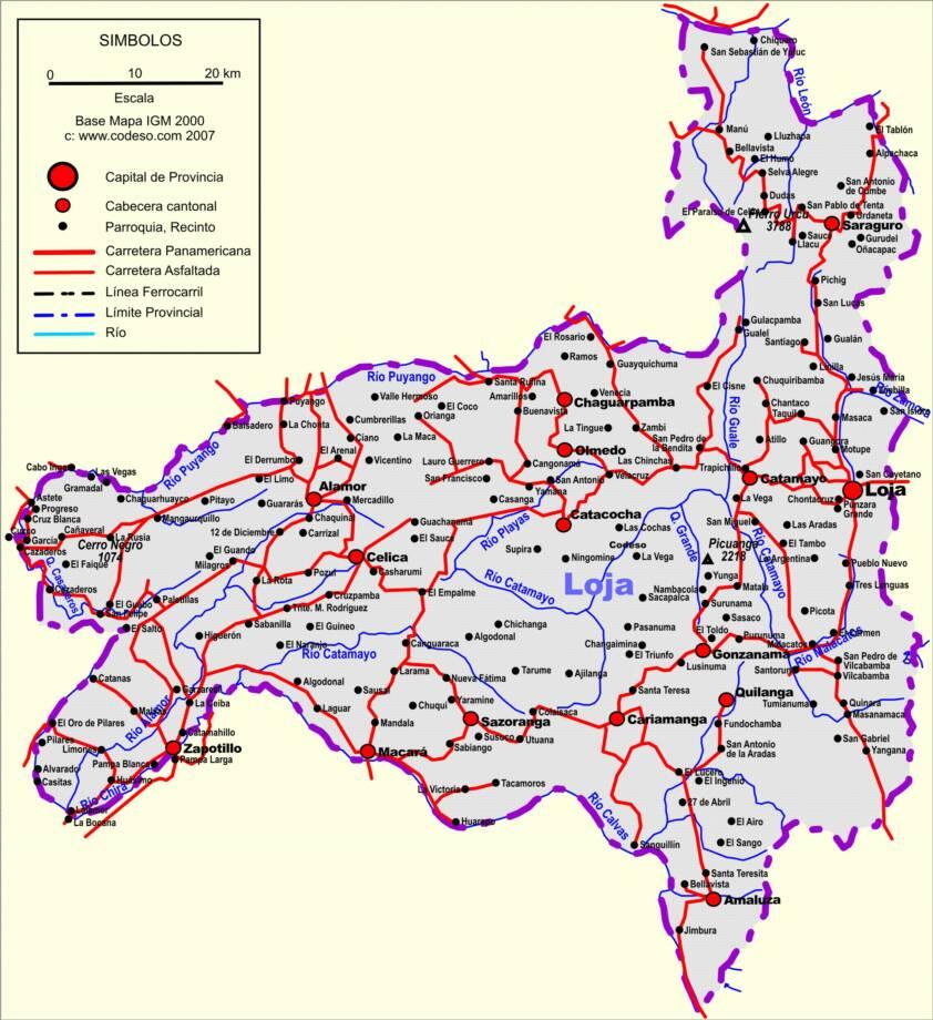 Mapa de carreteras de Loja