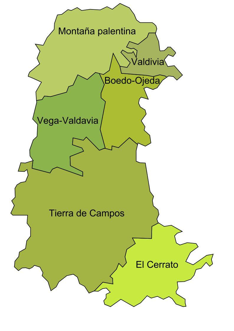 Mapa De Comarcas Naturales De La Provincia De Palencia 2009 Mapa