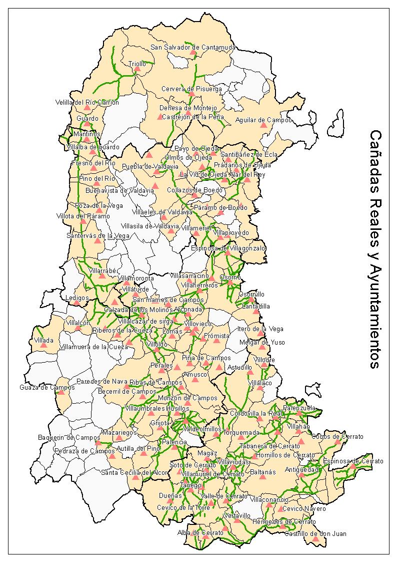 Cañadas reales y ayuntamientos en la Provincia de Palencia 2009