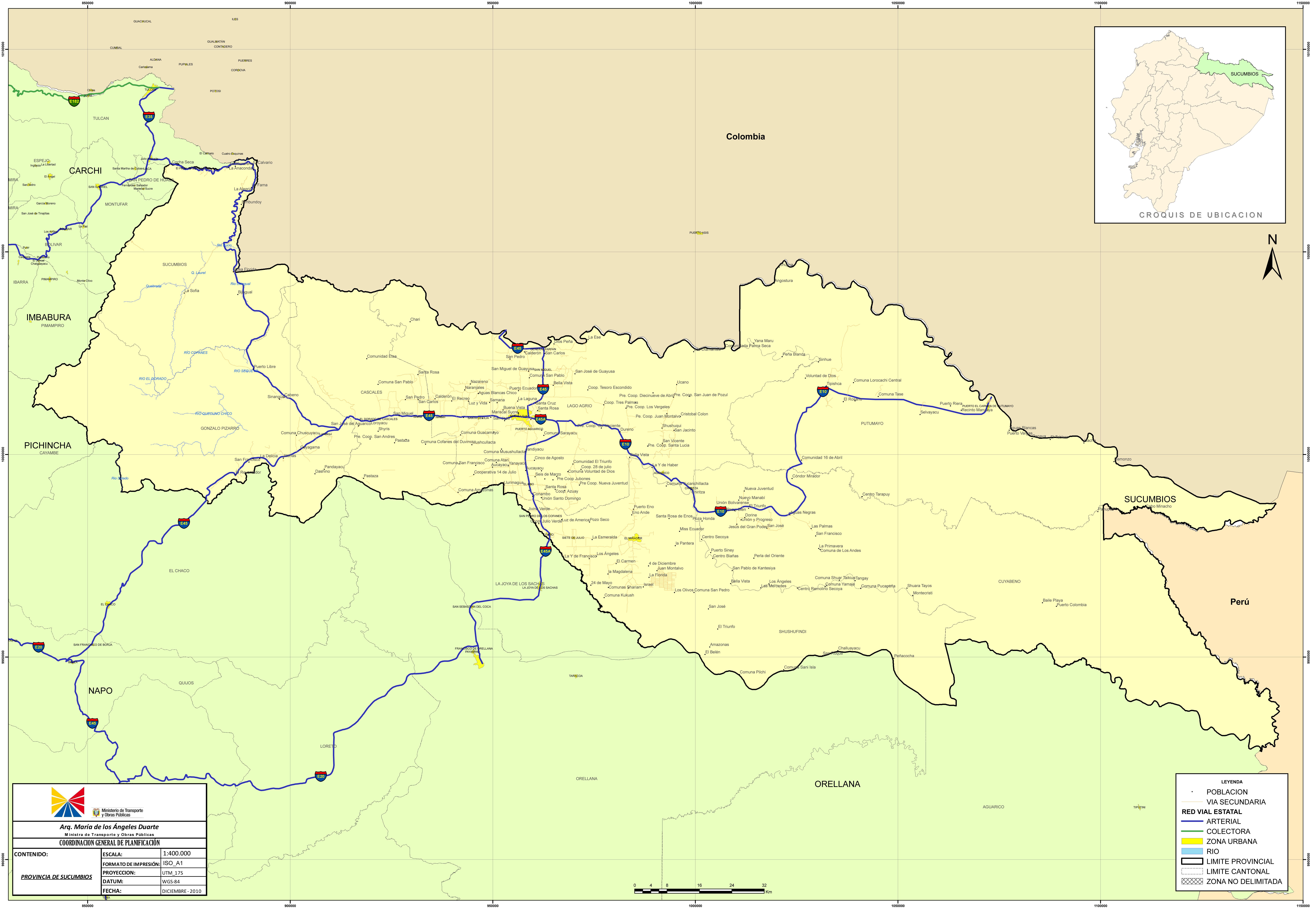 Mapa de Sucumbíos 2010
