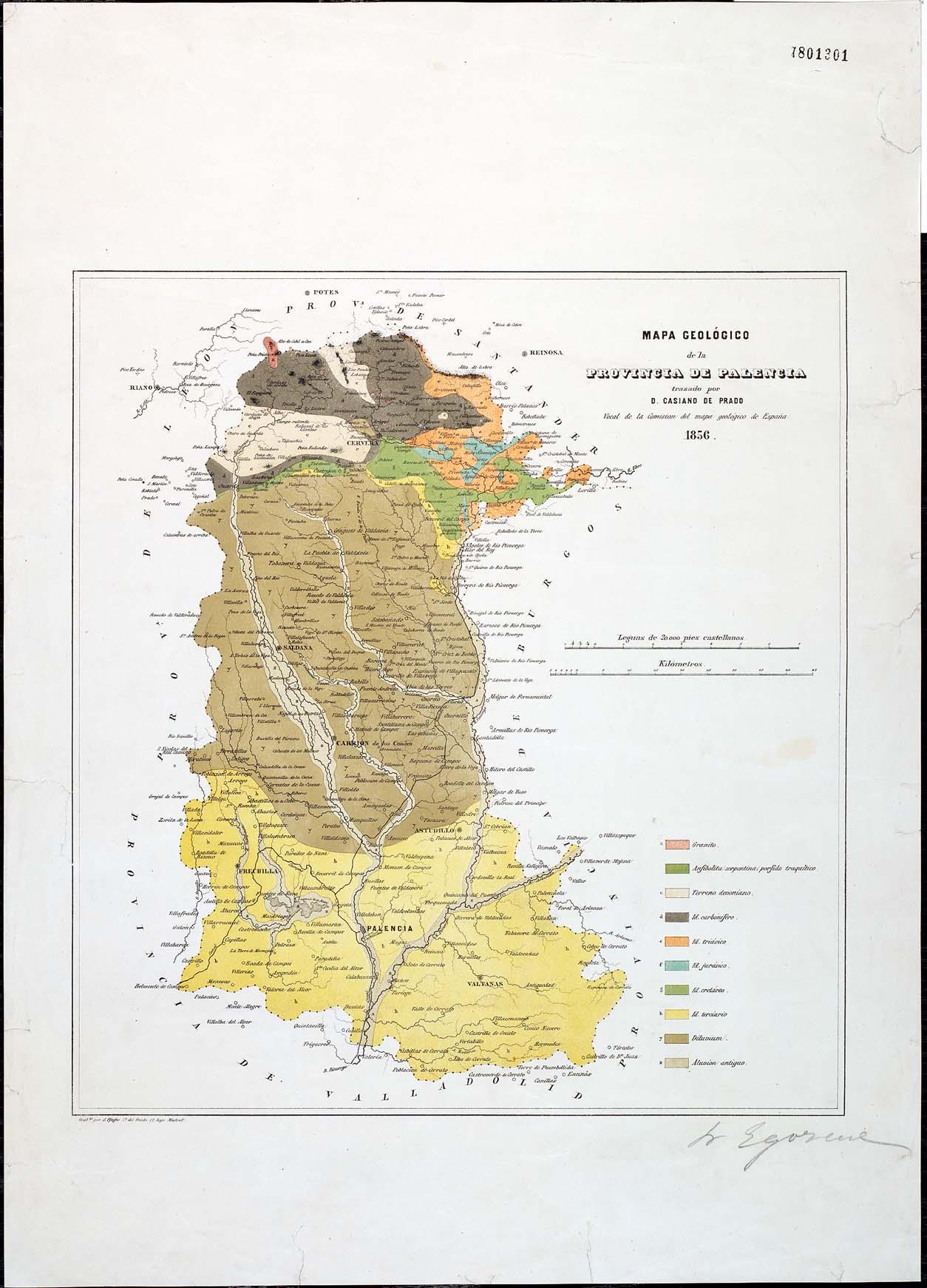 Mapa geológico de la provincia de Palencia 1856