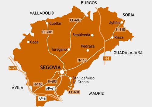 Mapa de carreteras de la Provincia de Segovia