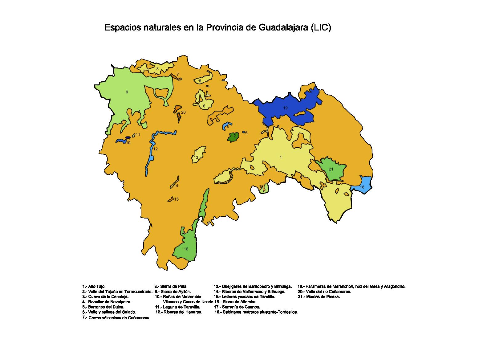 Lugares de Importancia Comunitaria (LIC) en la Provincia de Guadalajara 2008