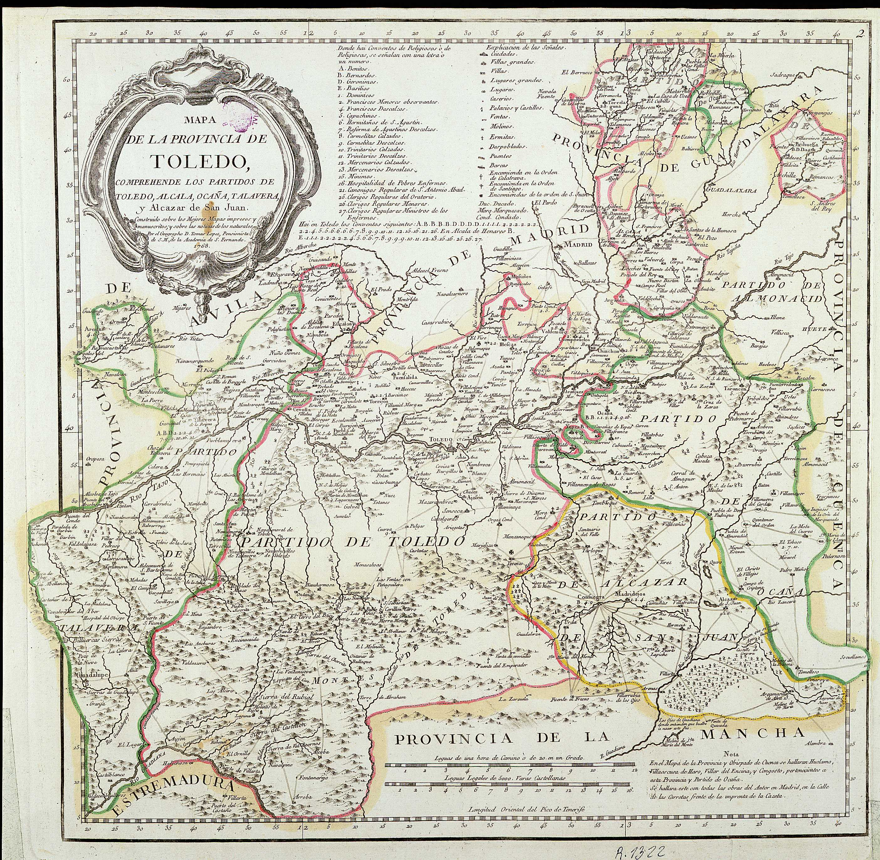 Map of the province of Toledo 1768