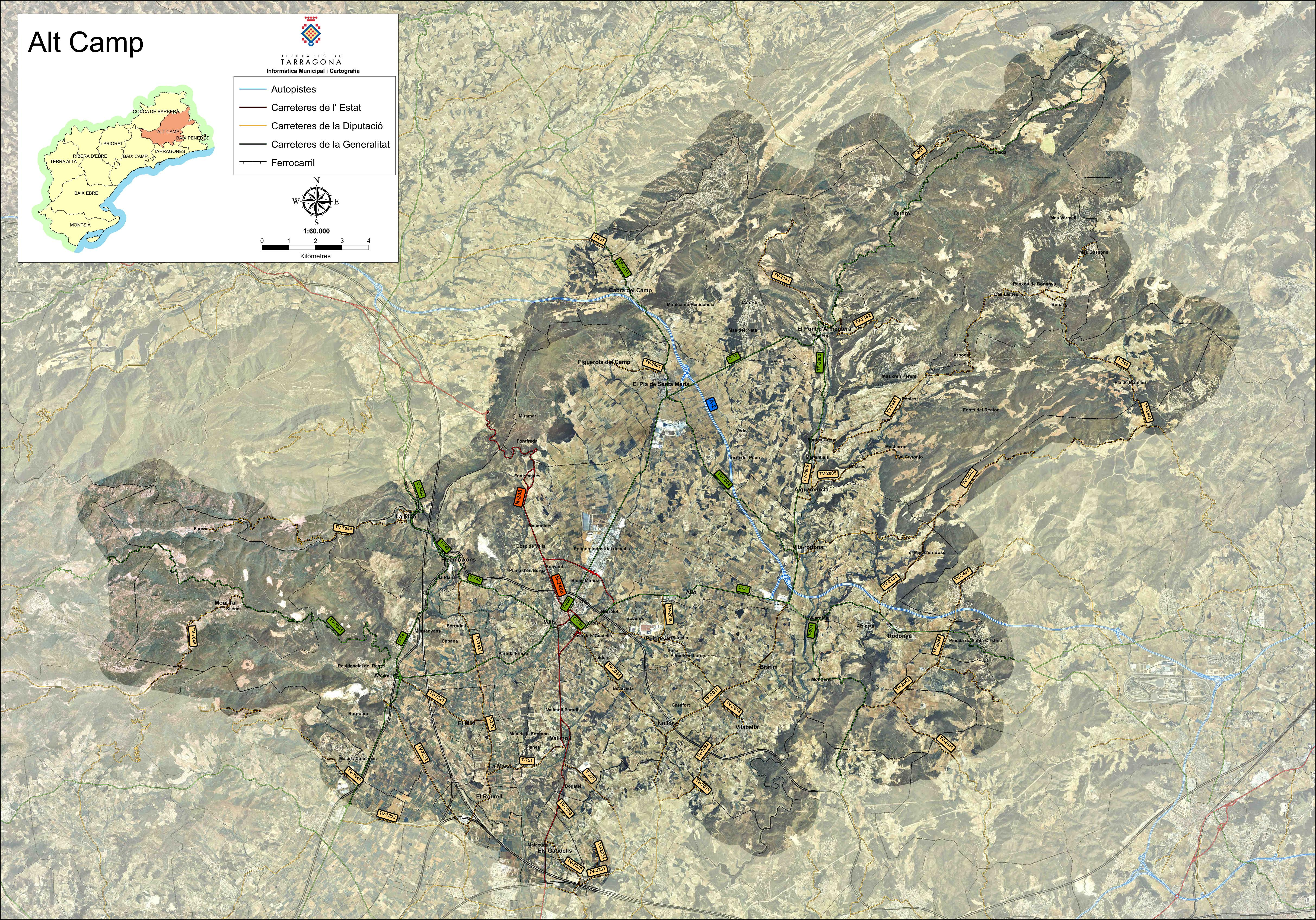 Mapa satelital con carreteras de la comarca de Alt Camp