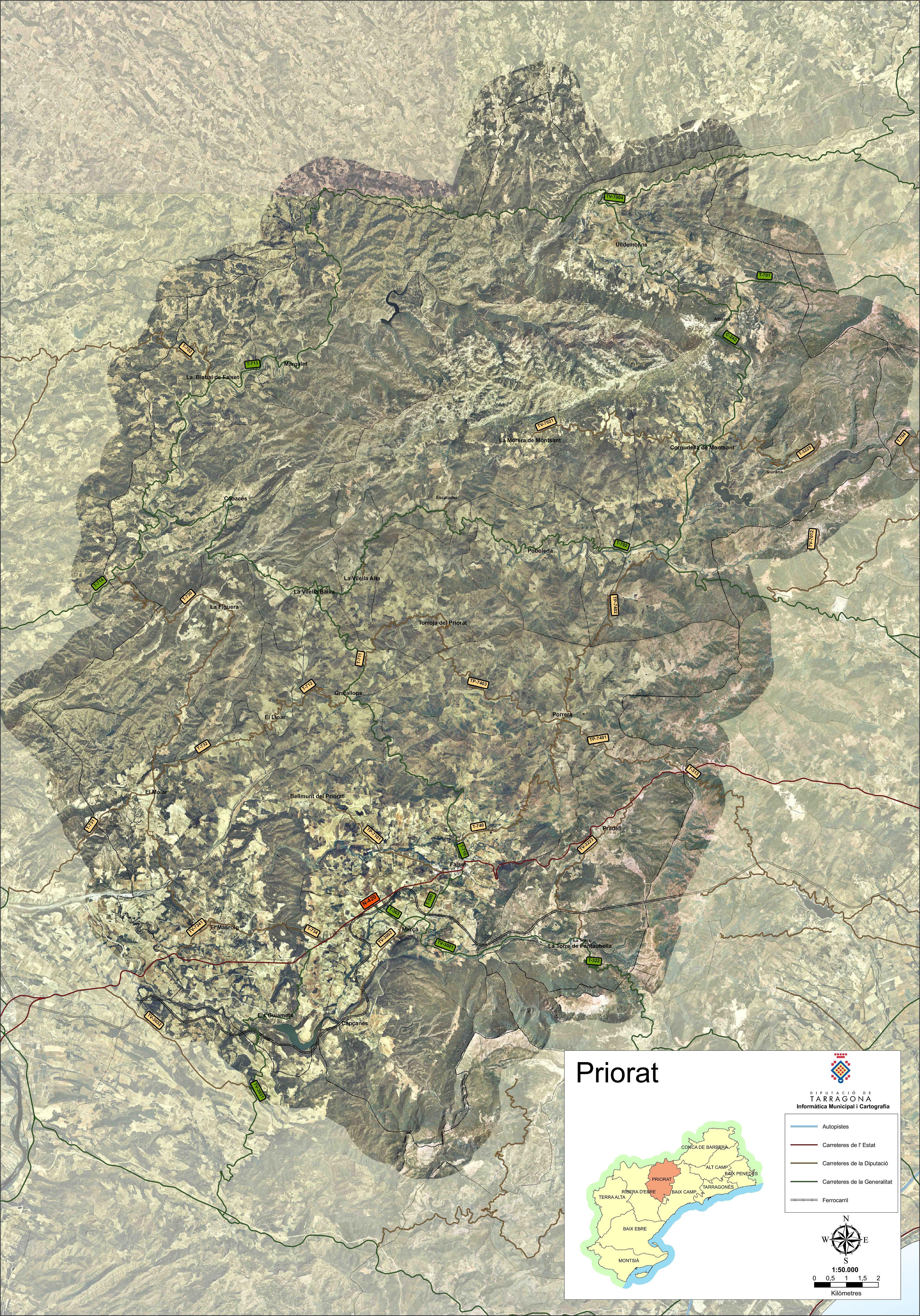 Mapa satelital con carreteras de la comarca de Priorat