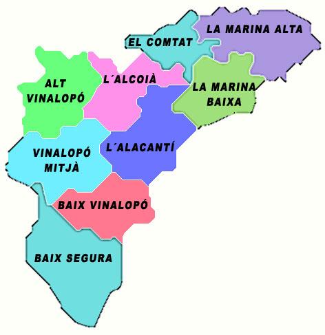 Comarcas de la Provincia de Alicante