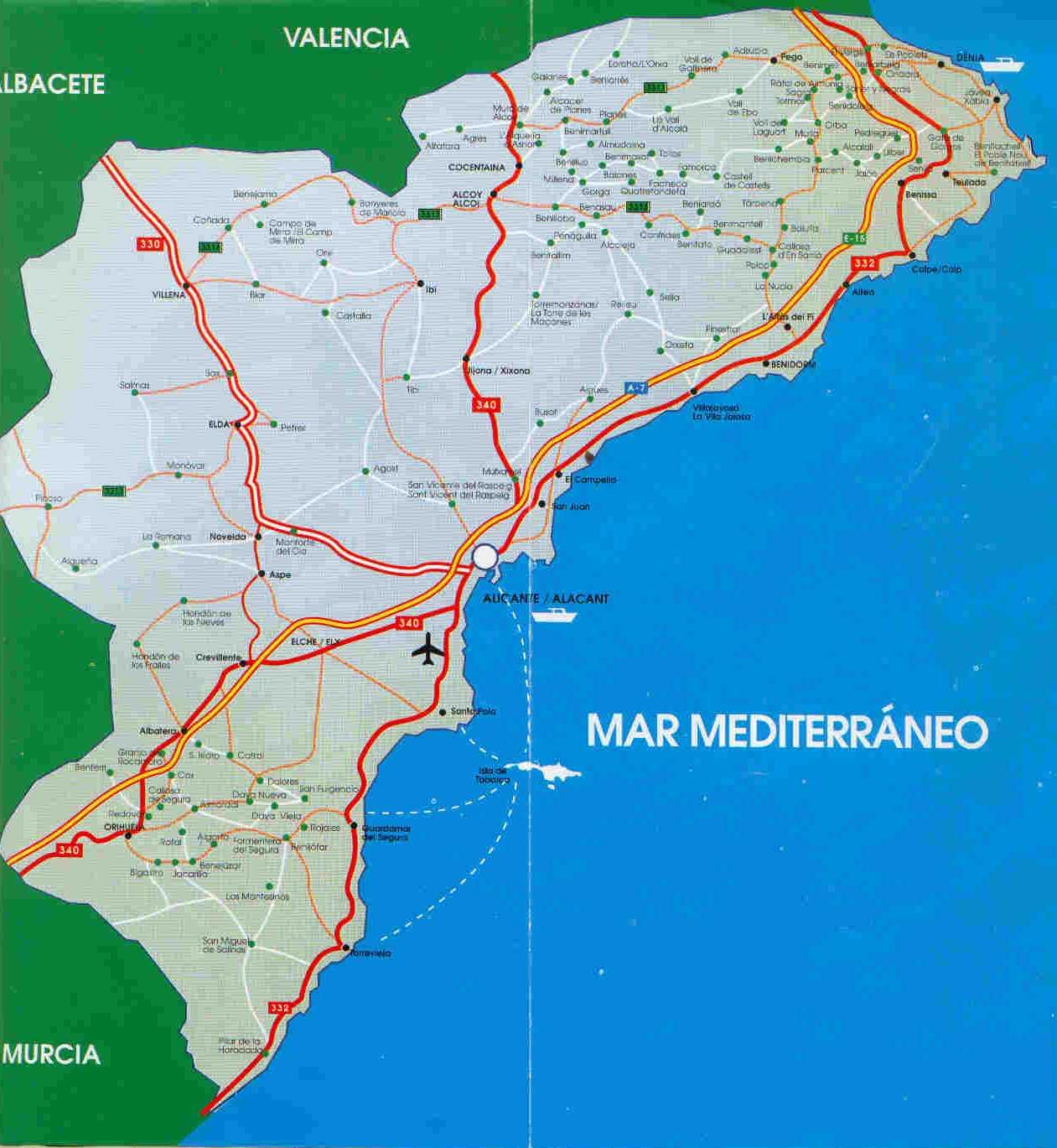 Mapa de carreteras de la Provincia de Alicante