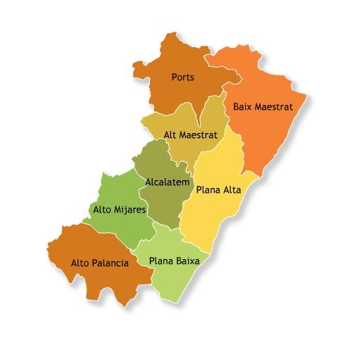 Mapa Provincia Castellon Municipios.Mapa De Comarcas De La Provincia De Castellon Mapa Owje Com