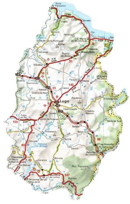 Mapa De Carreteras De La Provincia De Lugo Mapa Owje Com