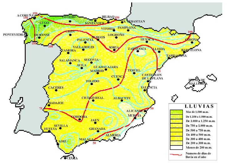 Mean annual precipitation in Spain