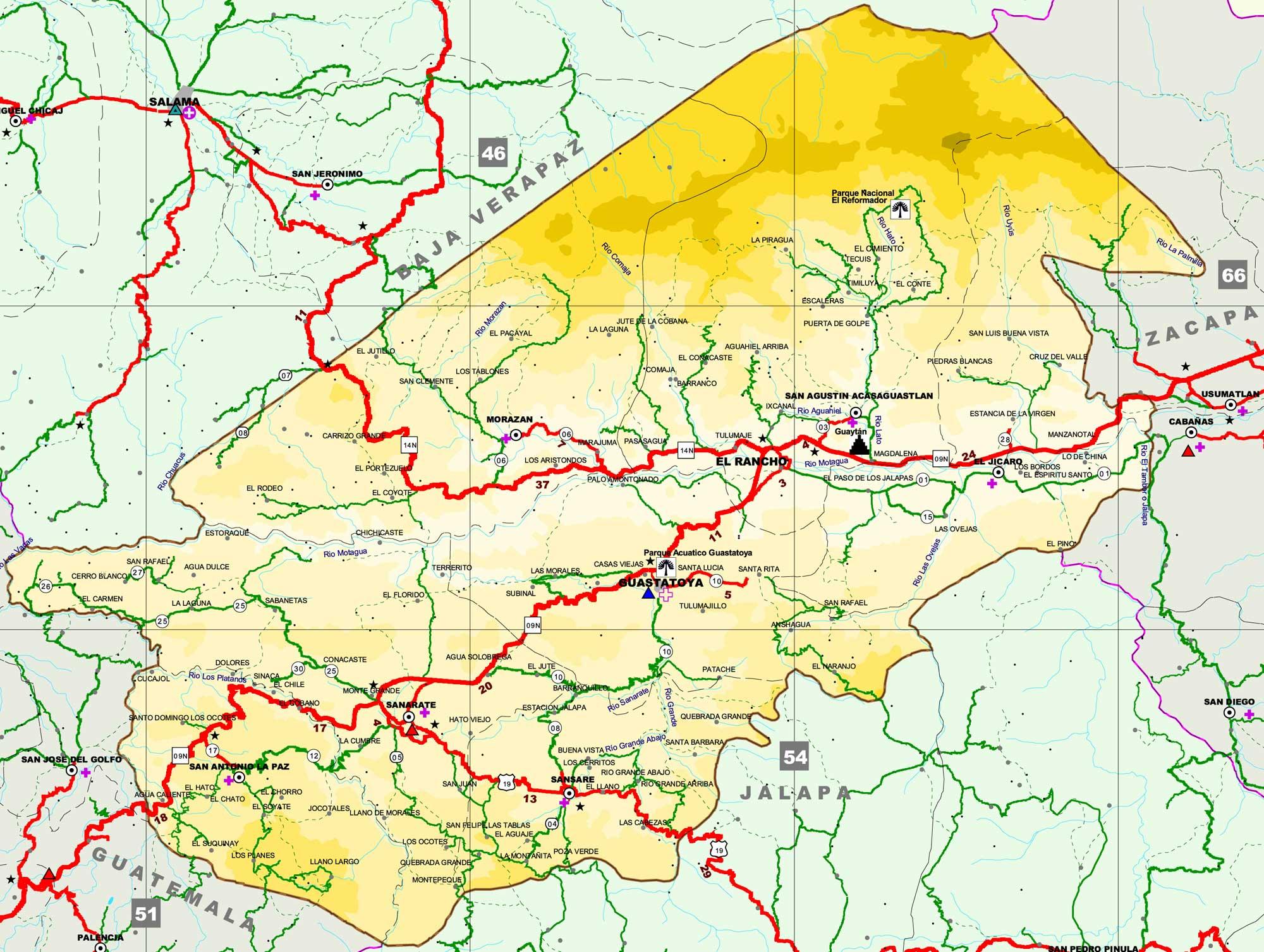 Map of El Progreso