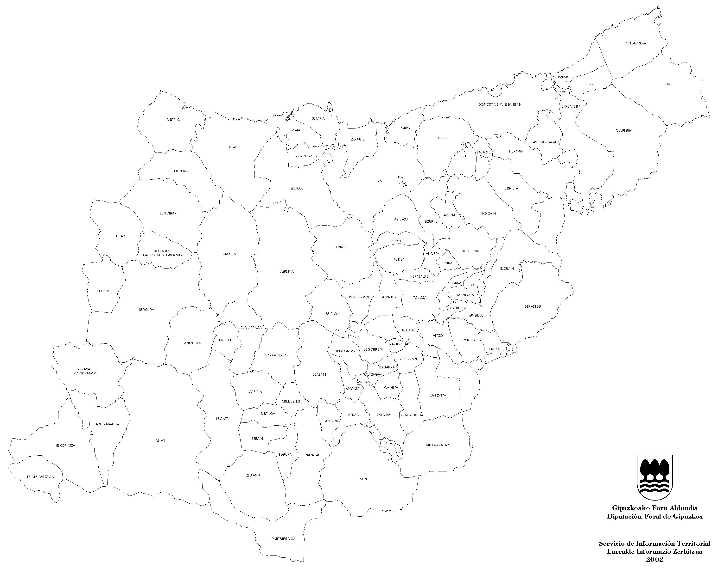 Mapa De Municipios Y Mancomunidades De Guipuzcoa 2002 Mapa Owje Com