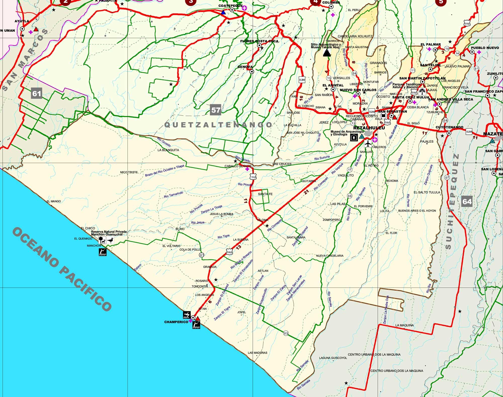 Map of Retalhuleu