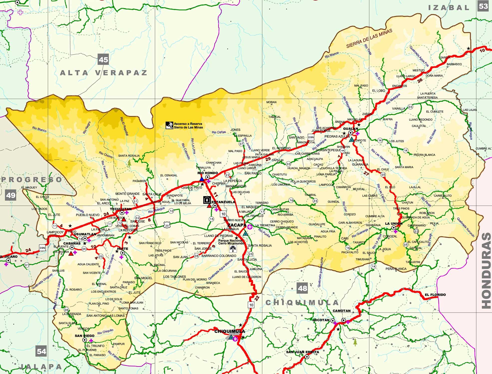 Mapa de Zacapa