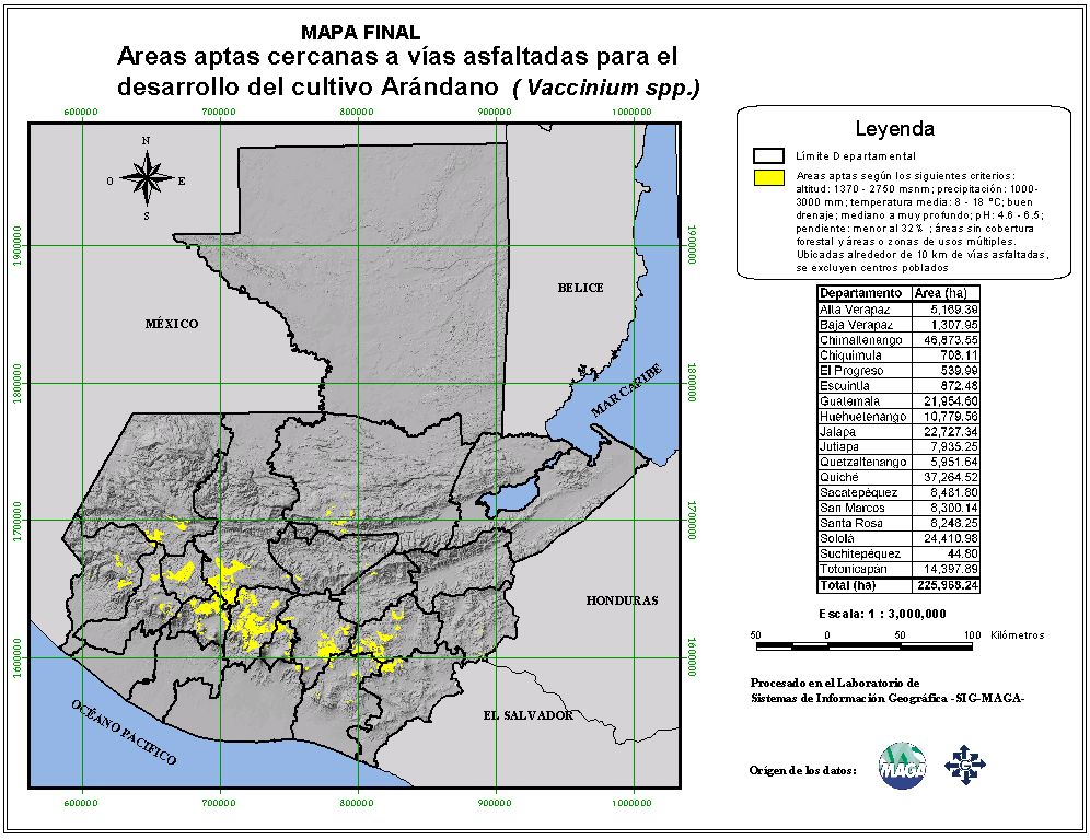 Areas suitable for growing Vaccinium berries in Guatemala