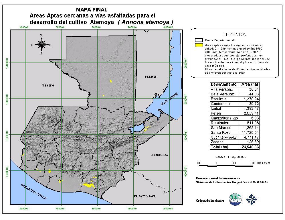 Areas suitable for growing Atemoya in Guatemala