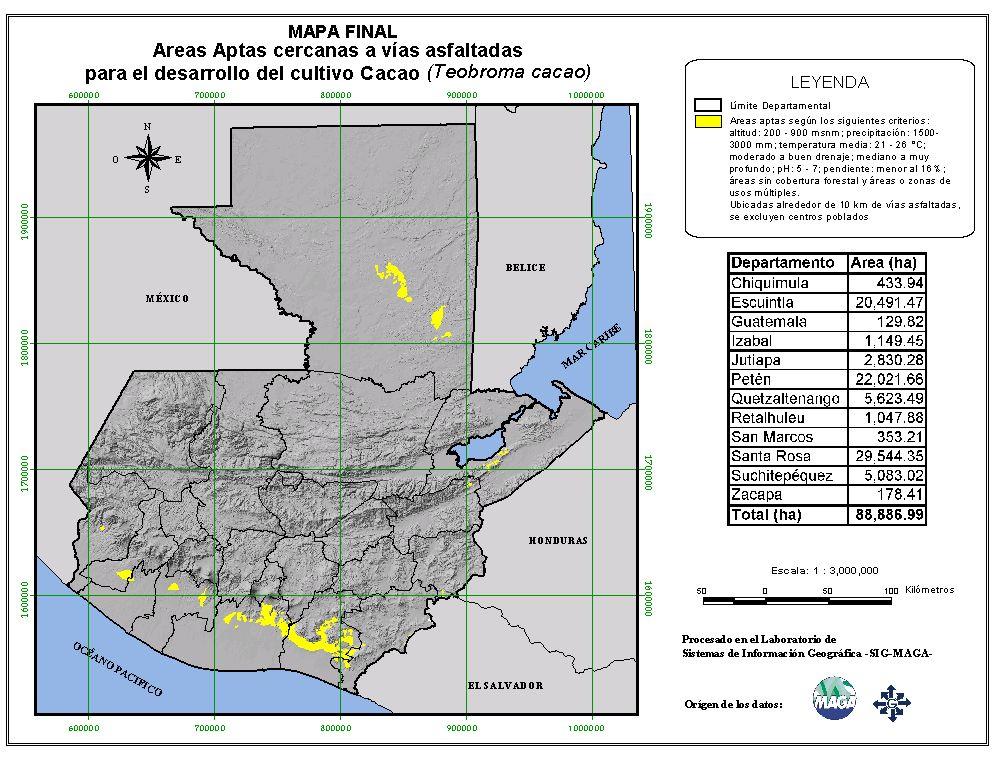 Áreas aptas para el cultivo de Cacao en Guatemala