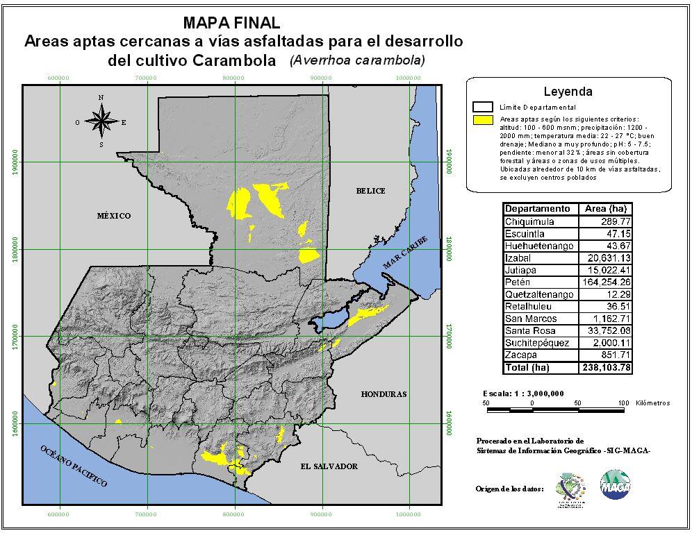 Áreas aptas para el cultivo de Carambola en Guatemala