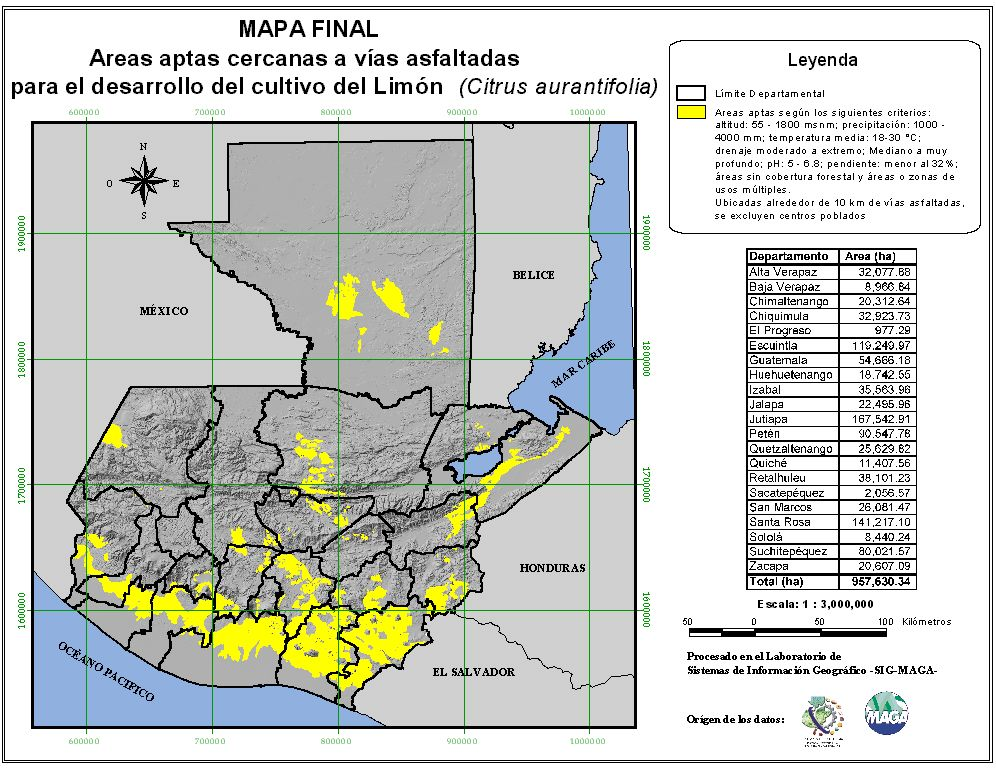 Areas suitable for growing Lemon in Guatemala
