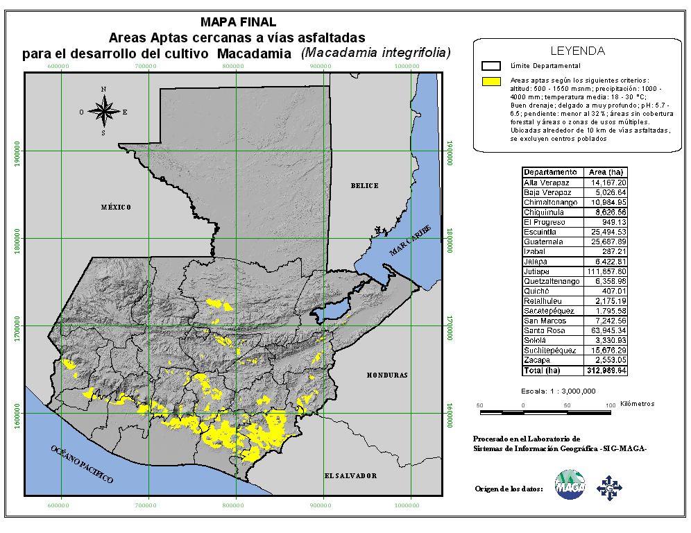 Áreas aptas para el cultivo de Macadamia en Guatemala
