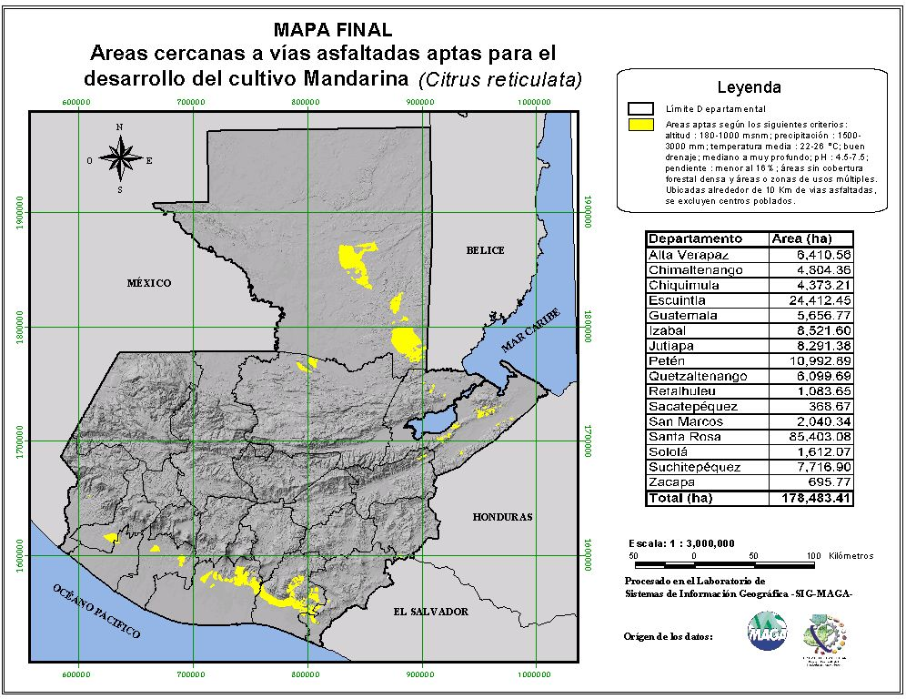 Areas suitable for growing mandarin in Guatemala