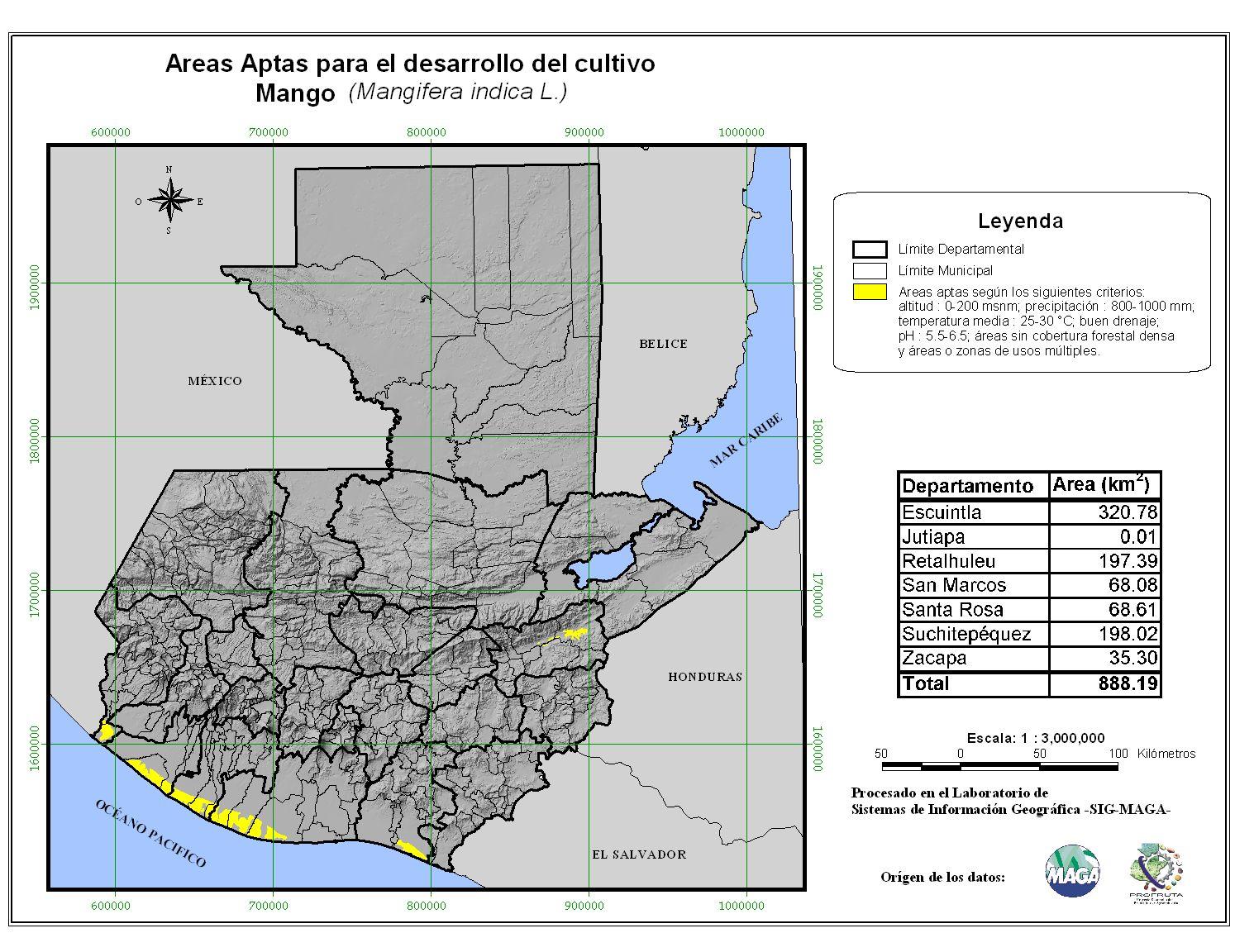 Áreas aptas para el cultivo del Mango en Guatemala