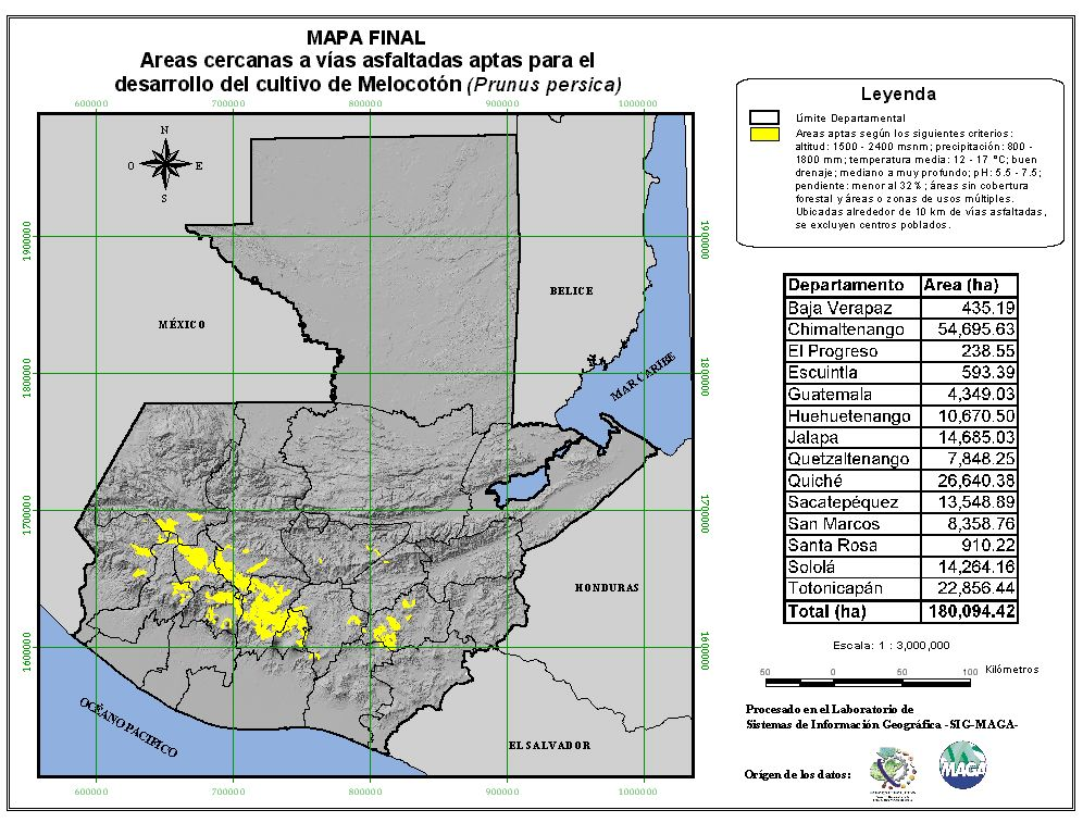 Áreas aptas para el cultivo del Melocotón en Guatemala